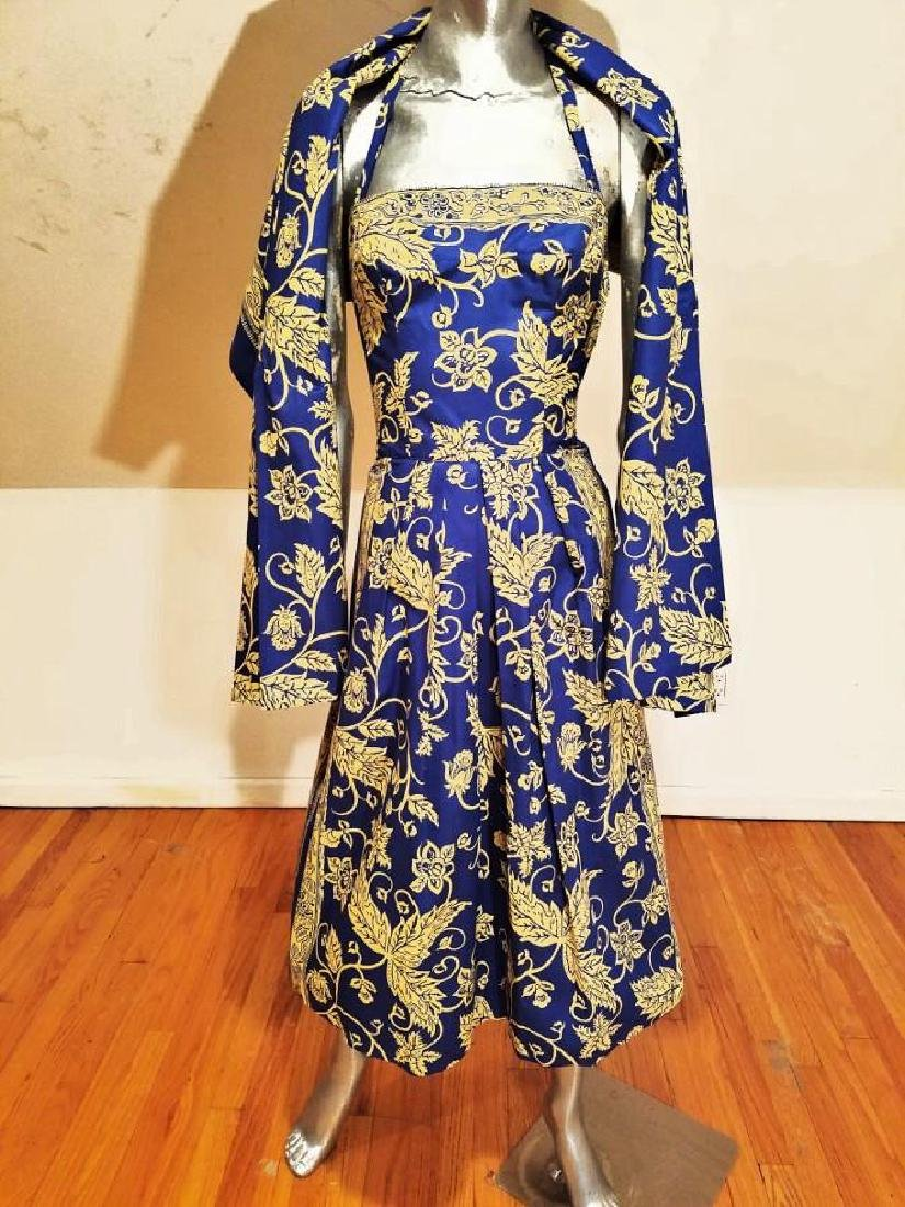 Vintage 1940's Polynesian  Painted Batik Style Dress