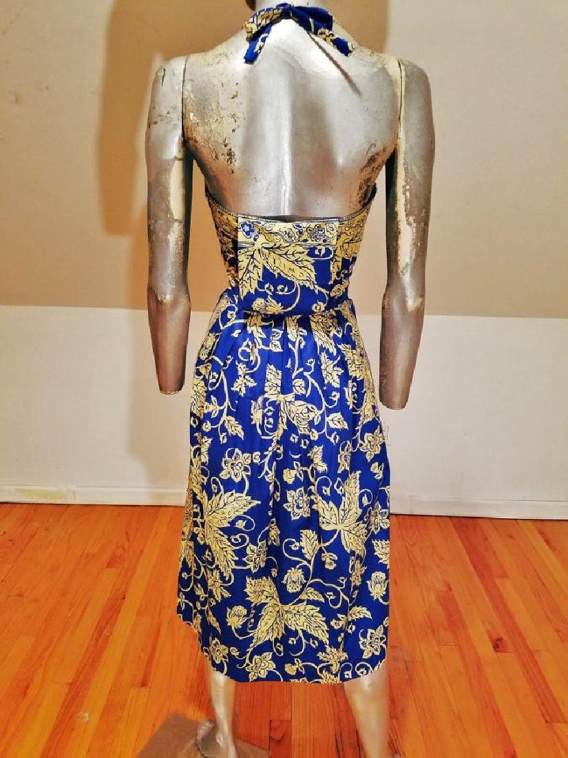 Vintage 1940's Polynesian  Painted Batik Style Dress - 7