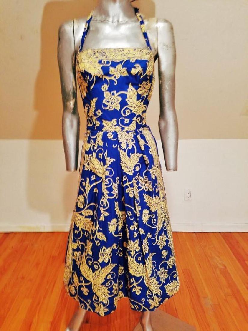 Vintage 1940's Polynesian  Painted Batik Style Dress - 8