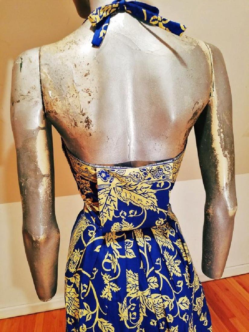 Vintage 1940's Polynesian  Painted Batik Style Dress - 9