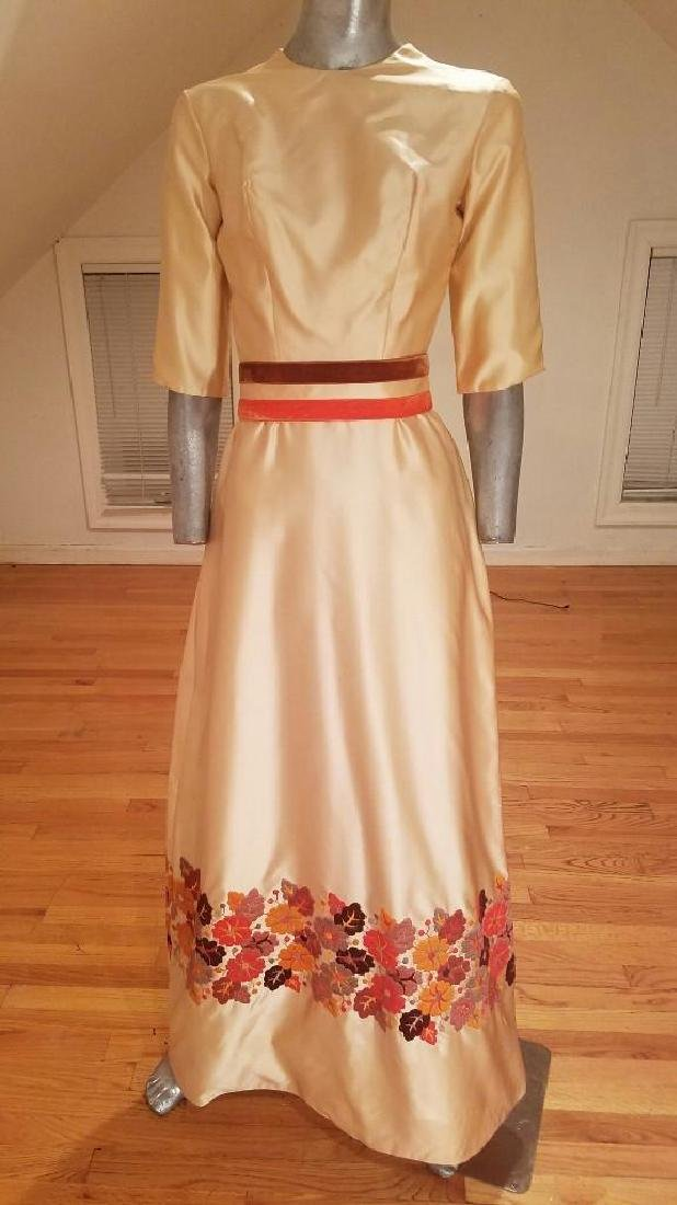 Vintage 1940's Hand Embroidered Maxi Gown Velour