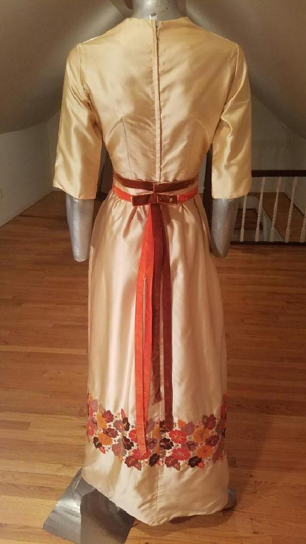 Vintage 1940's Hand Embroidered Maxi Gown Velour - 5