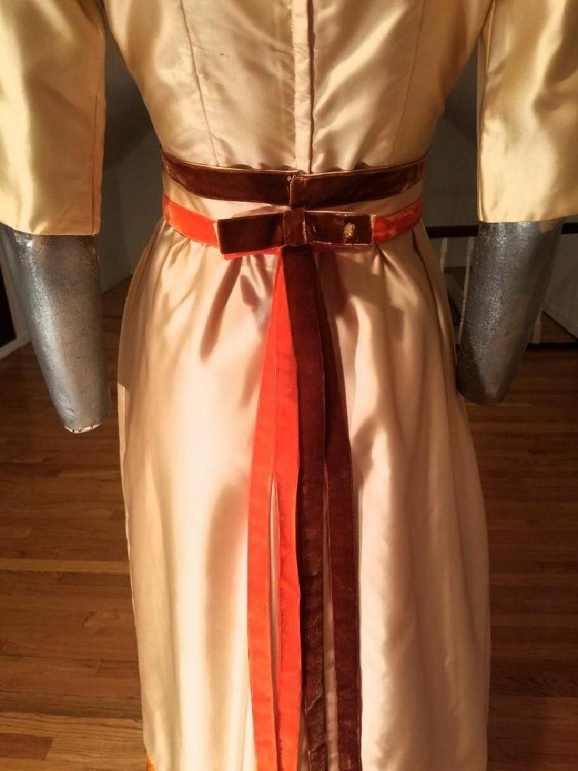 Vintage 1940's Hand Embroidered Maxi Gown Velour - 6