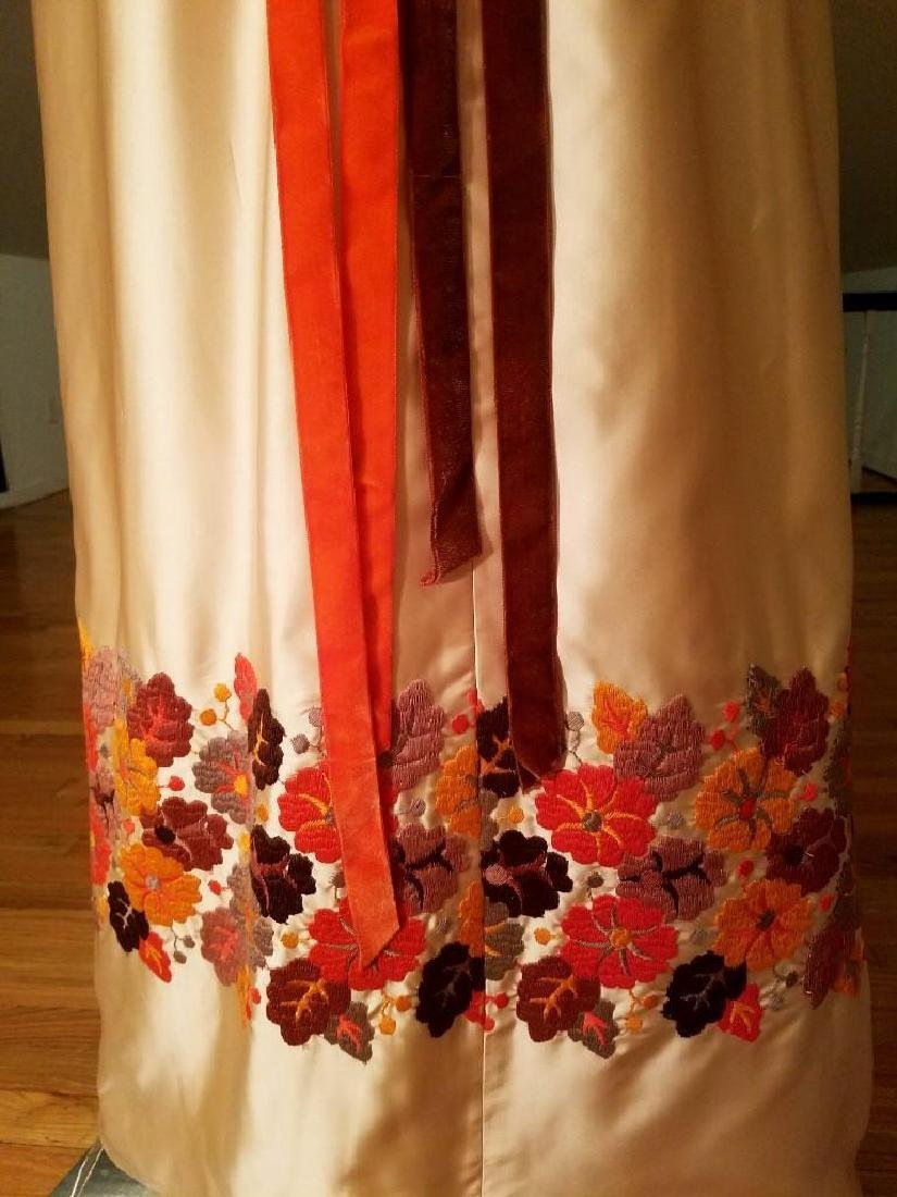 Vintage 1940's Hand Embroidered Maxi Gown Velour - 7