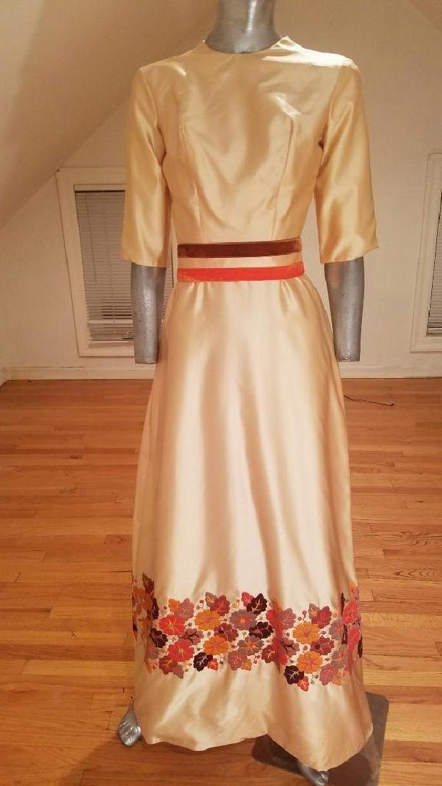 Vintage 1940's Hand Embroidered Maxi Gown Velour - 8