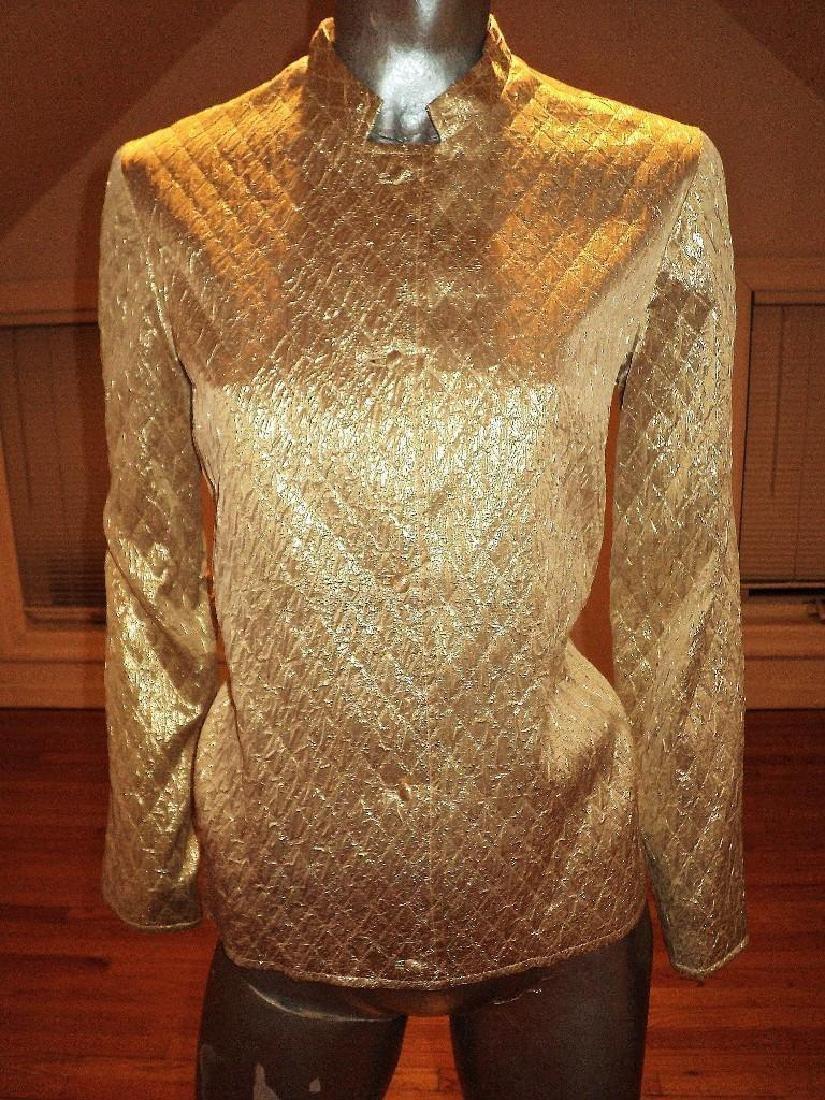 Vintage 1950 Metallic Gold Quilted Brocade Jacket