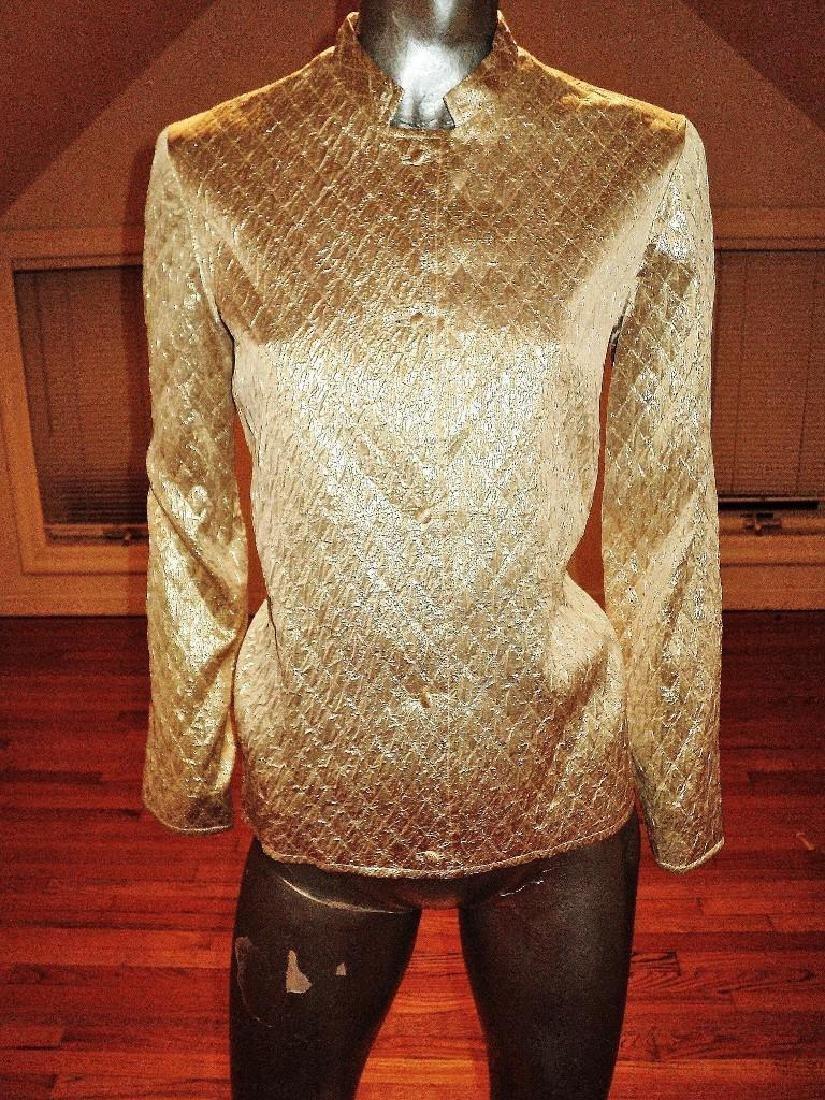 Vintage 1950 Metallic Gold Quilted Brocade Jacket - 2