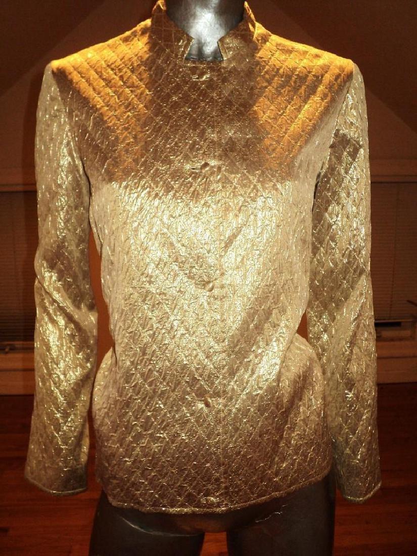 Vintage 1950 Metallic Gold Quilted Brocade Jacket - 3