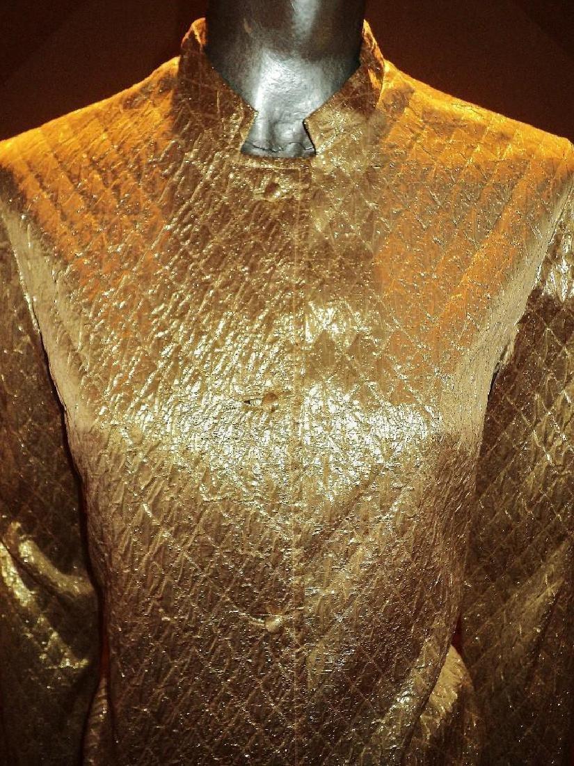 Vintage 1950 Metallic Gold Quilted Brocade Jacket - 4