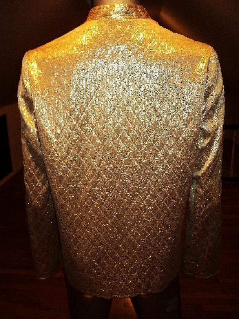Vintage 1950 Metallic Gold Quilted Brocade Jacket - 5