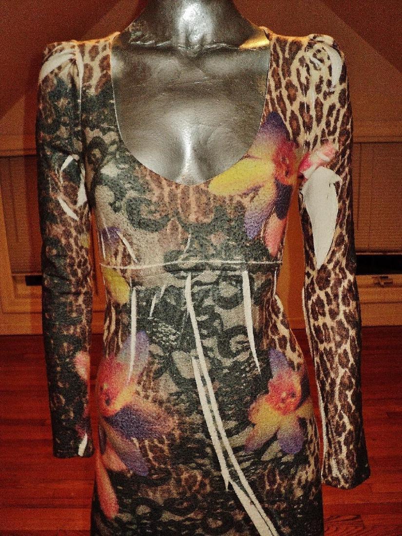 Vintage Animal Print Body Con Dress Knit Spandex - 4