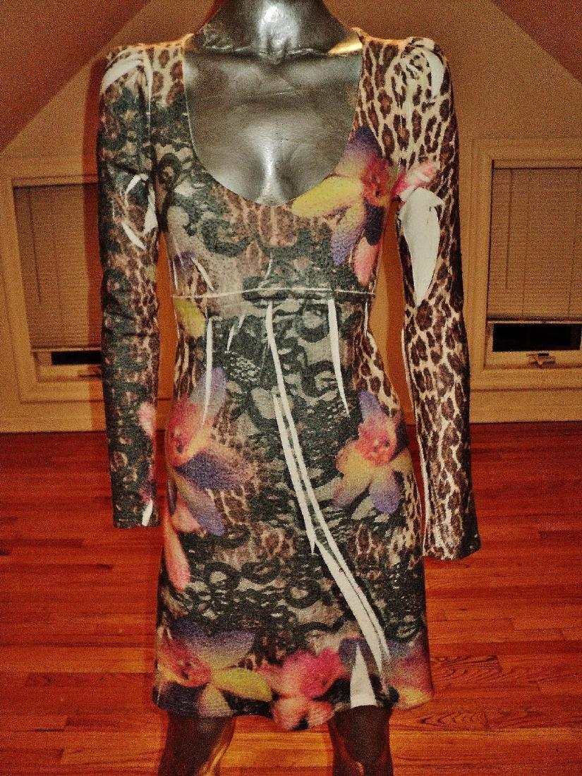 Vintage Animal Print Body Con Dress Knit Spandex - 6