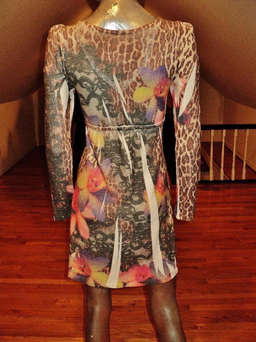 Vintage Animal Print Body Con Dress Knit Spandex - 8