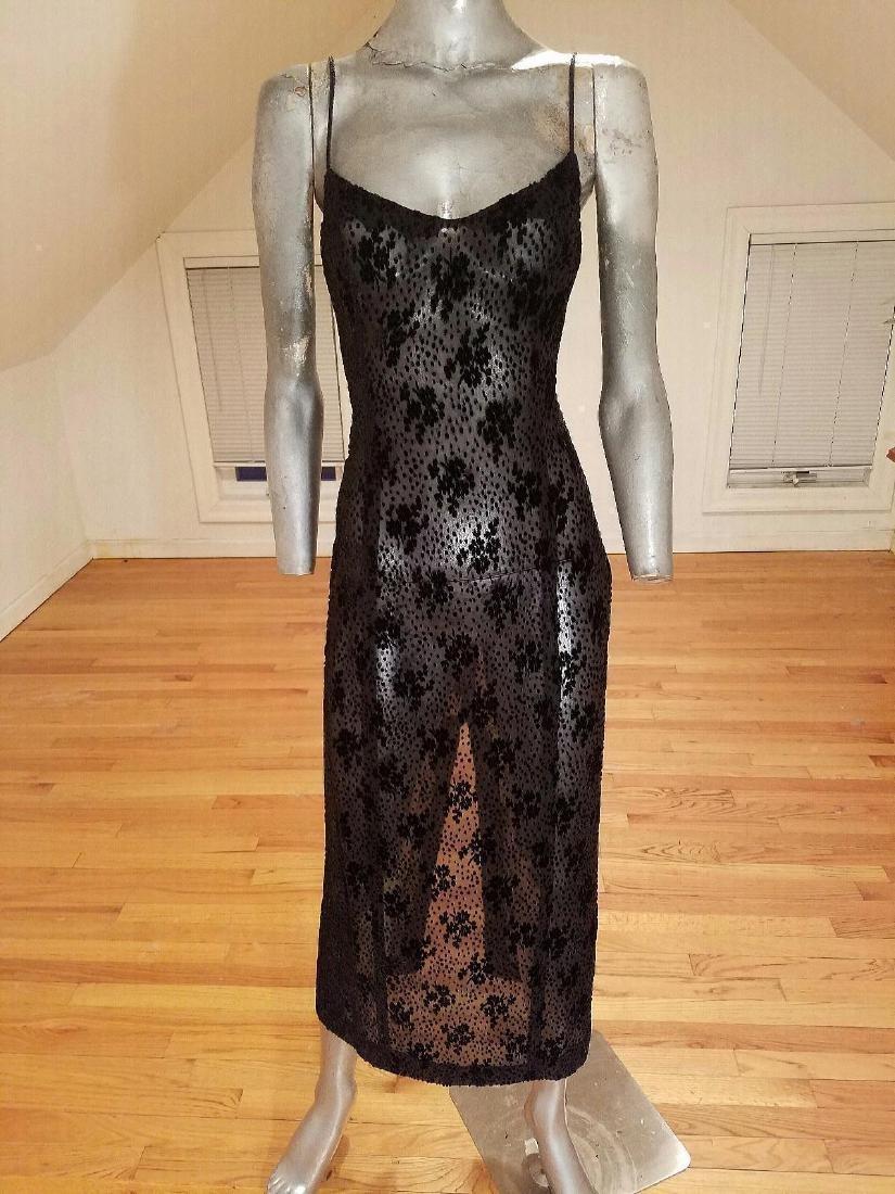 Ozbek Layering Silk Blend Gown Burnout Velour Chiffon - 3