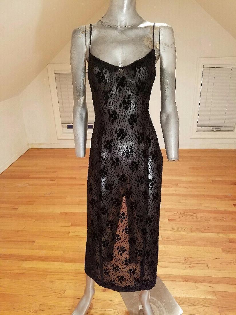 Ozbek Layering Silk Blend Gown Burnout Velour Chiffon - 4