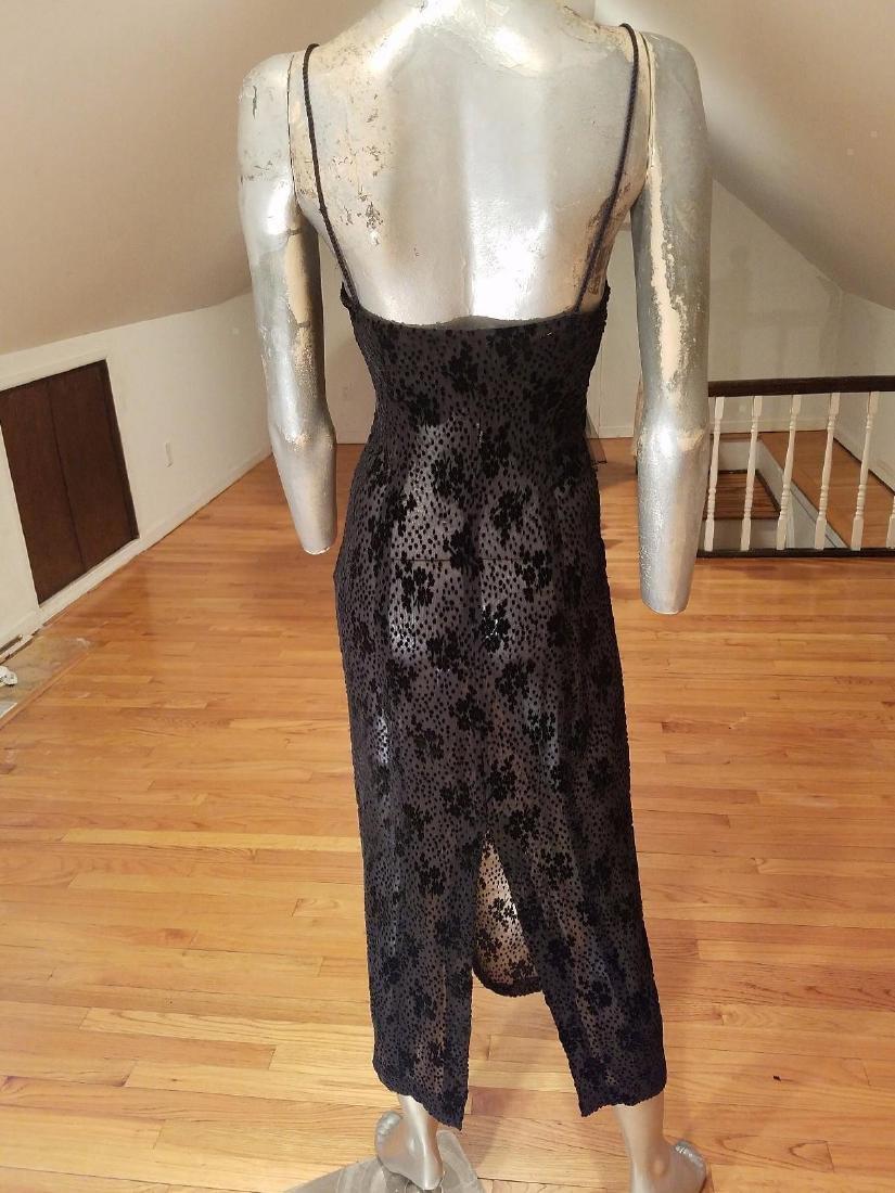Ozbek Layering Silk Blend Gown Burnout Velour Chiffon - 5