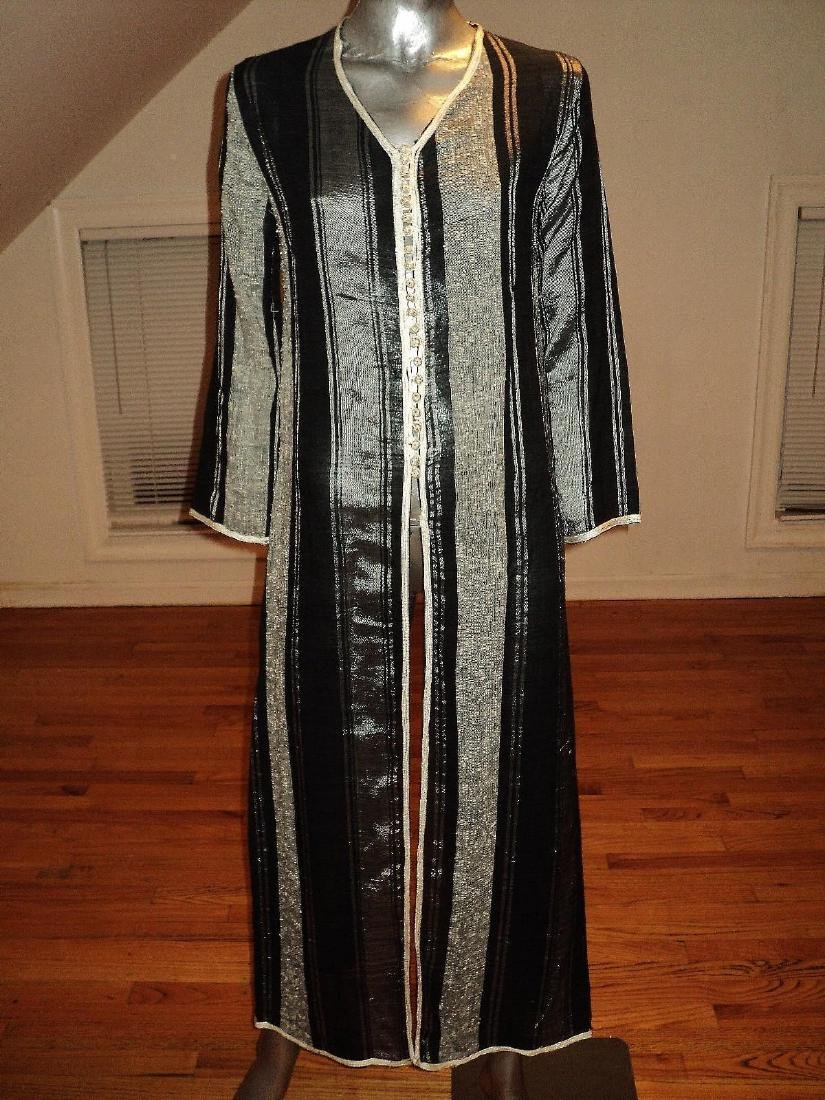 Vintage Moroccan Ethnic Striped Caftan Braided Ribbons