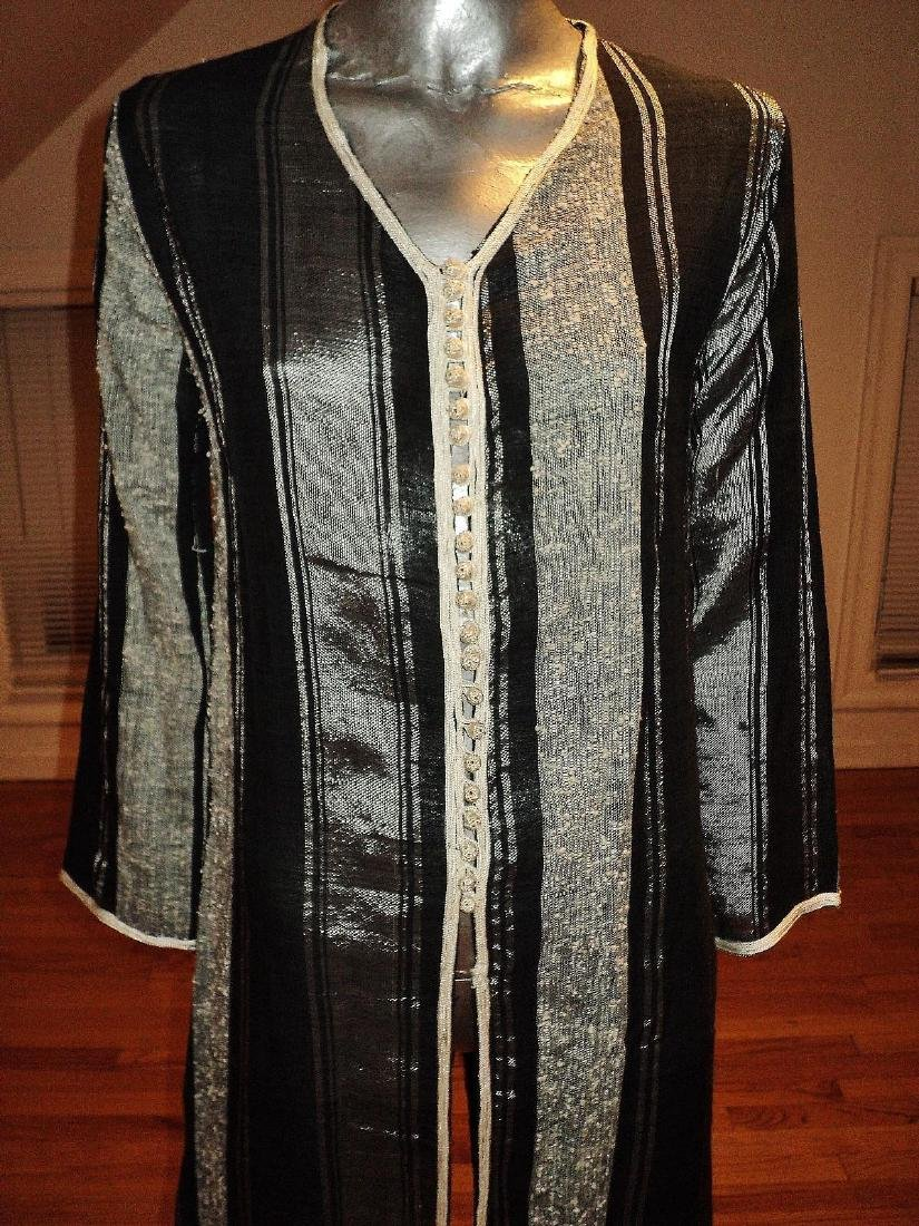 Vintage Moroccan Ethnic Striped Caftan Braided Ribbons - 2