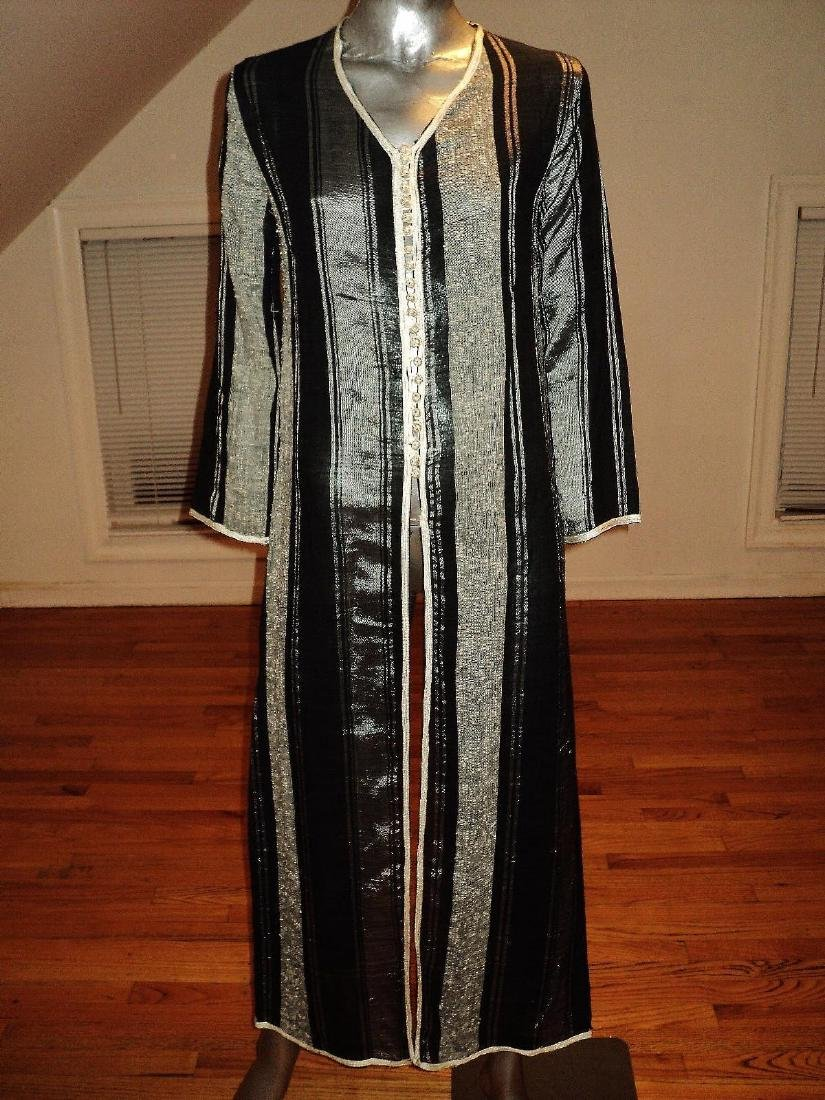 Vintage Moroccan Ethnic Striped Caftan Braided Ribbons - 4
