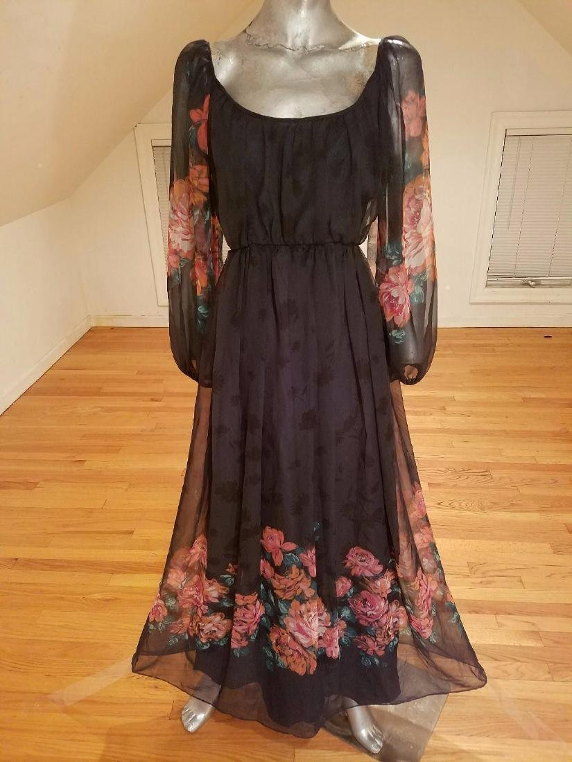 Vintage Victor Costa 1970's Floral Chiffon Maxi Gown - 10