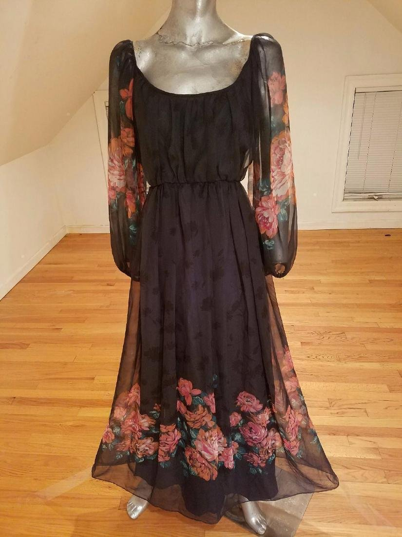 Vintage Victor Costa 1970's Floral Chiffon Maxi Gown