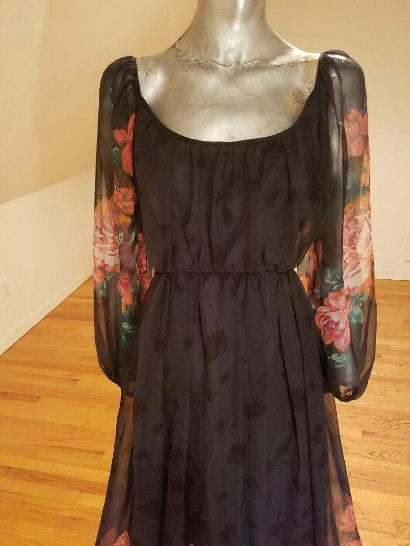 Vintage Victor Costa 1970's Floral Chiffon Maxi Gown - 2