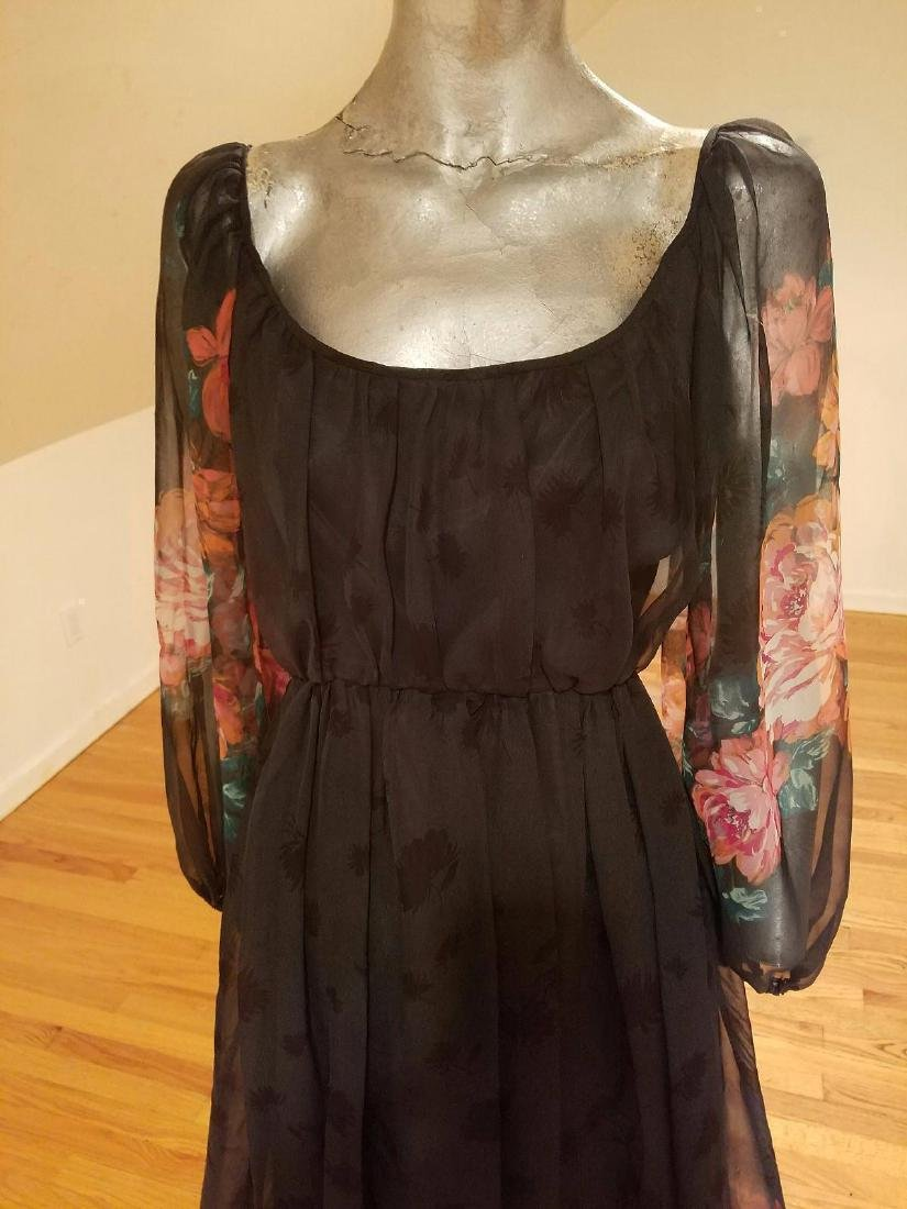 Vintage Victor Costa 1970's Floral Chiffon Maxi Gown - 3