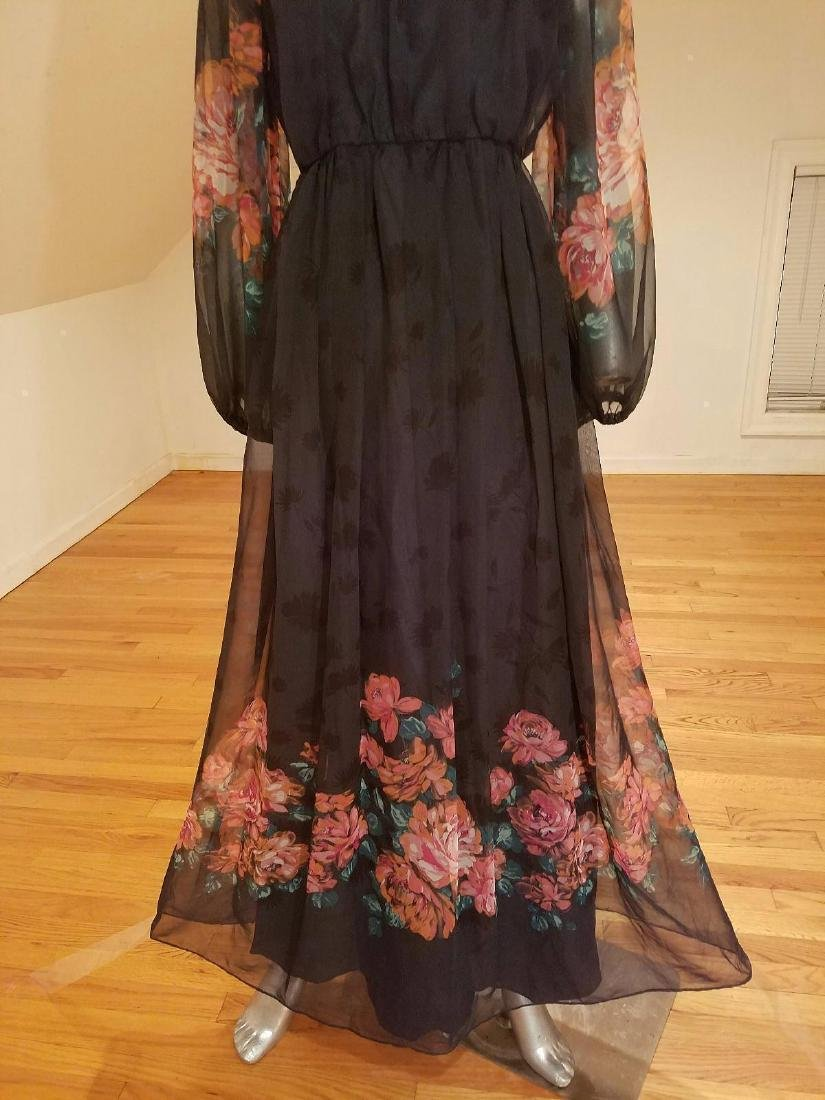 Vintage Victor Costa 1970's Floral Chiffon Maxi Gown - 4