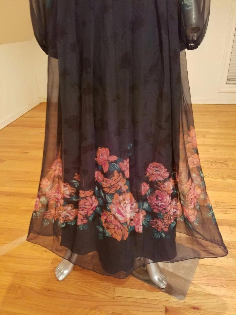 Vintage Victor Costa 1970's Floral Chiffon Maxi Gown - 5