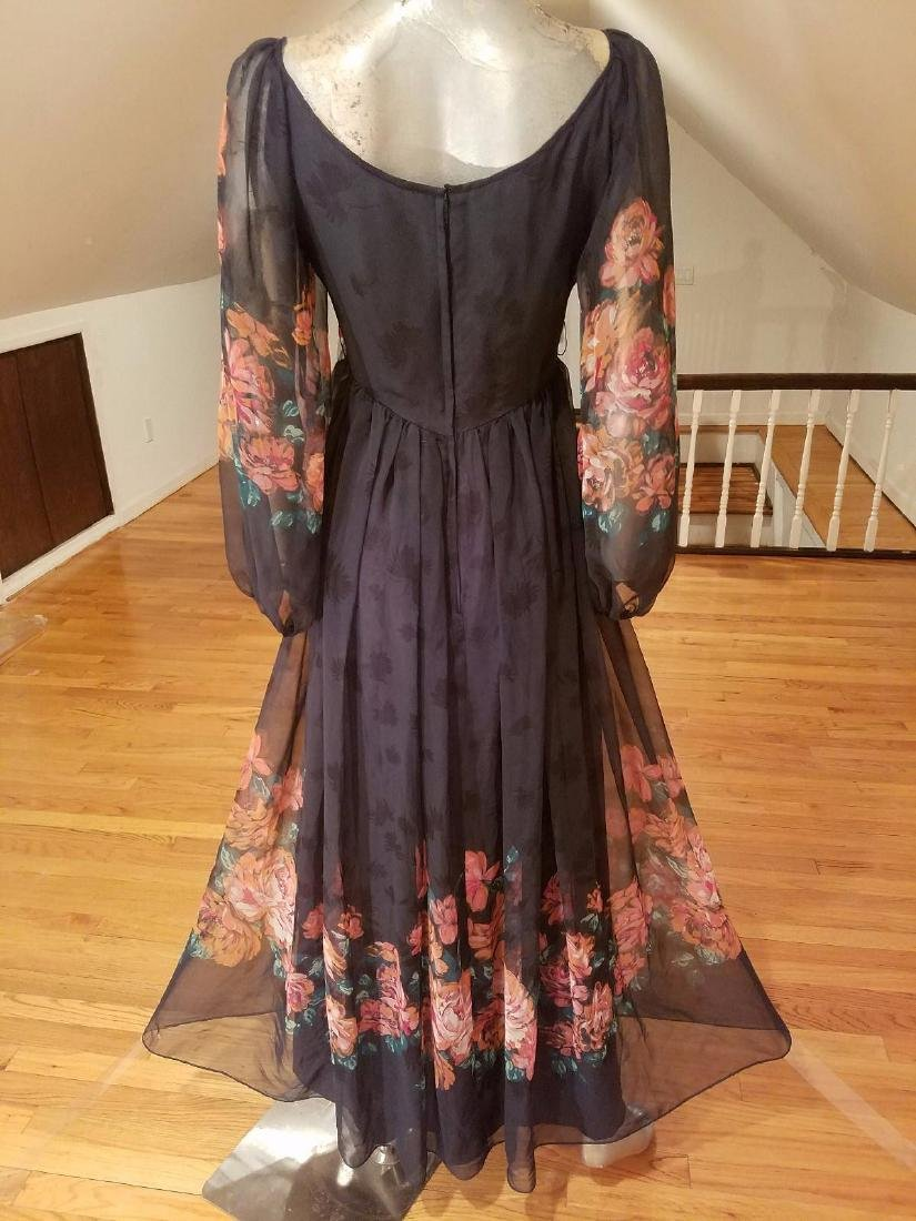 Vintage Victor Costa 1970's Floral Chiffon Maxi Gown - 6
