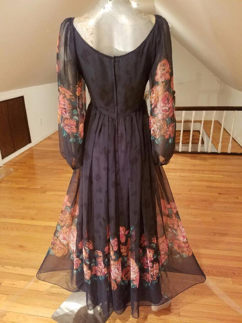 Vintage Victor Costa 1970's Floral Chiffon Maxi Gown - 7