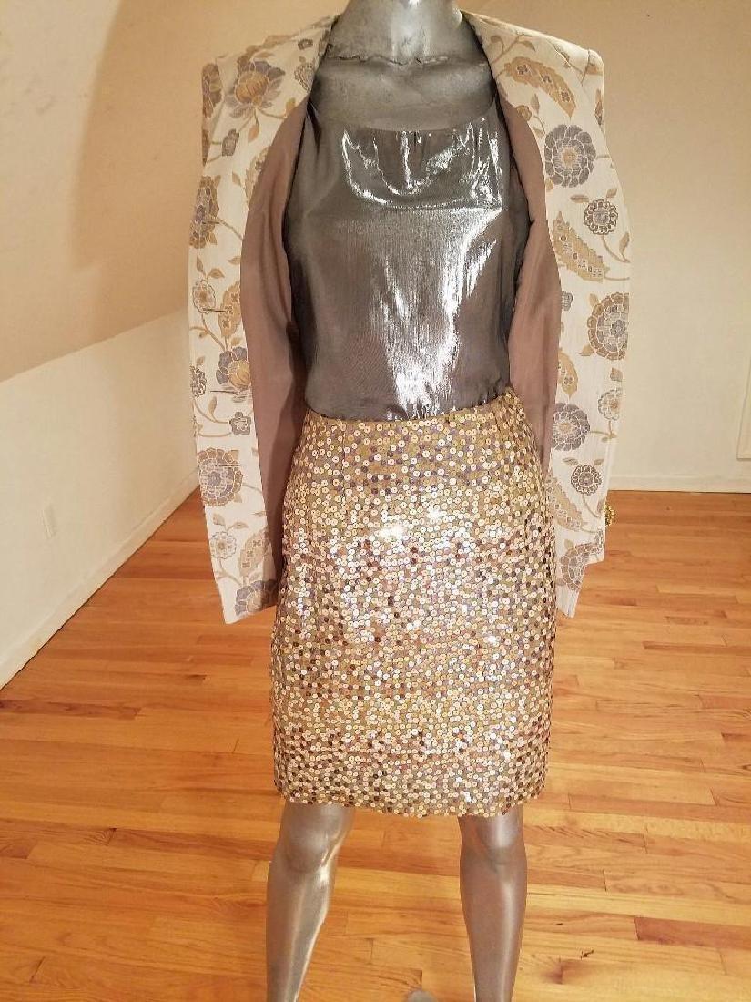 Vintage Albert Nipon 3pc Skirt Suit Metallic Lame