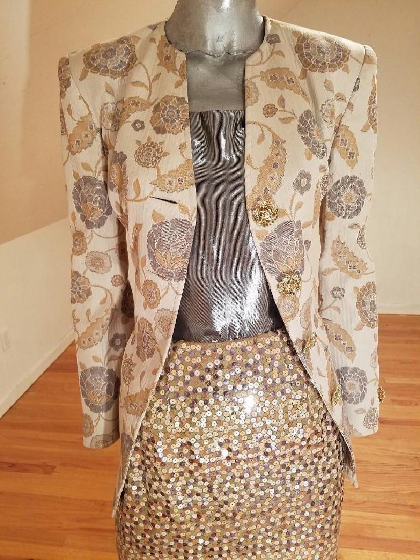 Vintage Albert Nipon 3pc Skirt Suit Metallic Lame - 2
