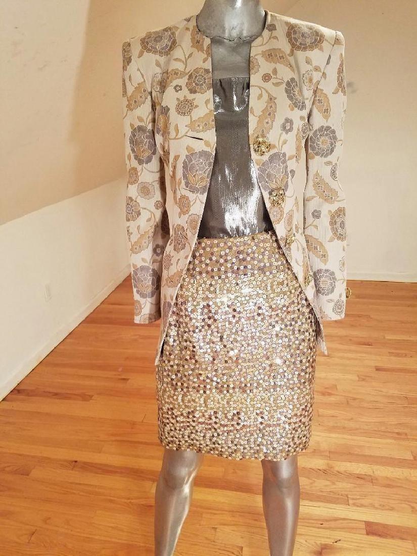 Vintage Albert Nipon 3pc Skirt Suit Metallic Lame - 3