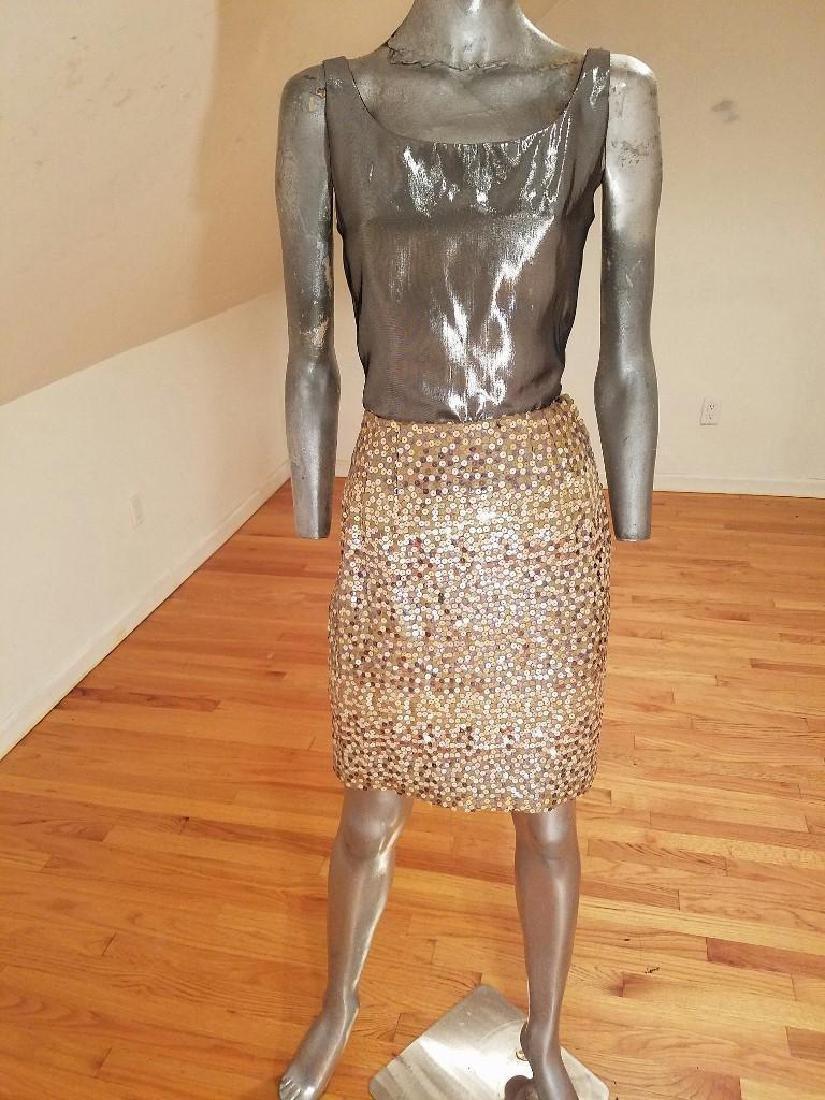 Vintage Albert Nipon 3pc Skirt Suit Metallic Lame - 4