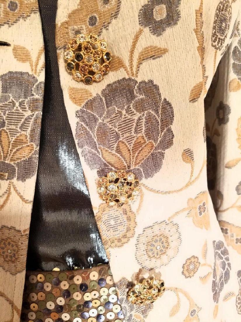 Vintage Albert Nipon 3pc Skirt Suit Metallic Lame - 6