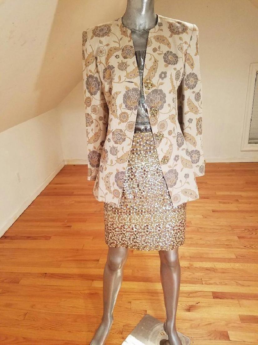 Vintage Albert Nipon 3pc Skirt Suit Metallic Lame - 7