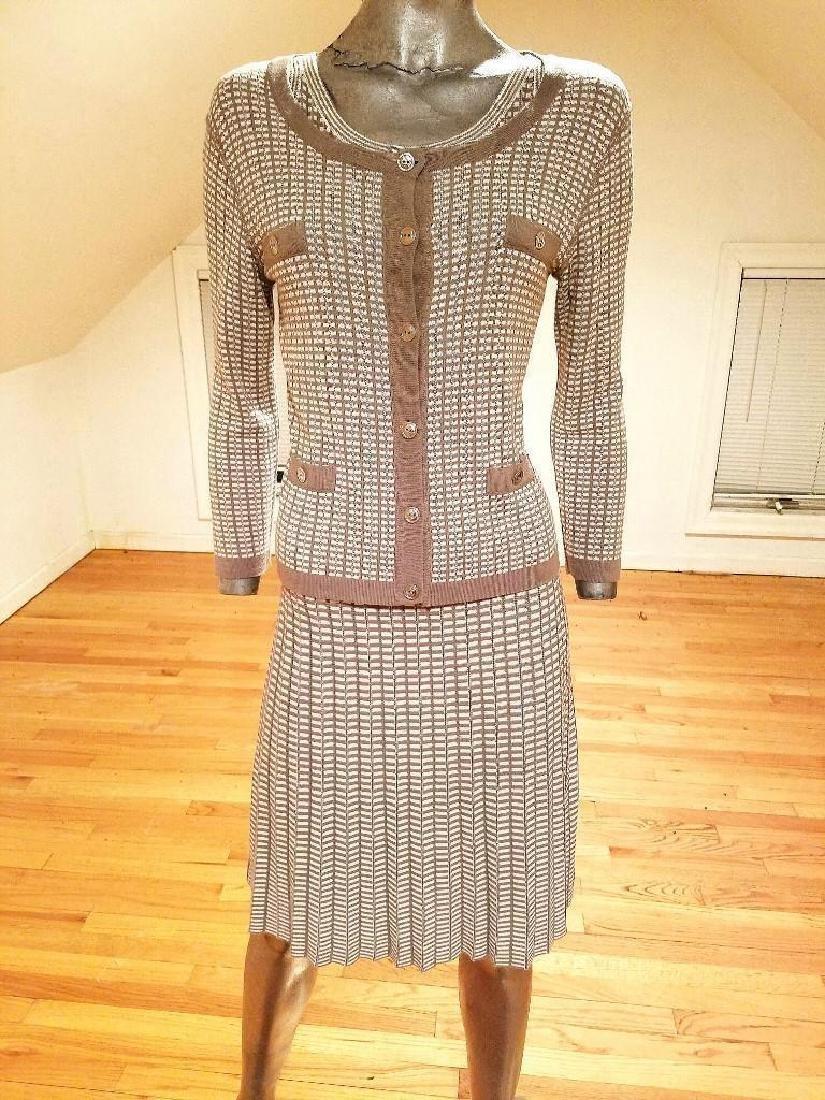 French Dress/Jacket Ensemble Plaid Knit Chanel Style