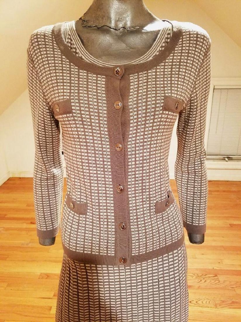 French Dress/Jacket Ensemble Plaid Knit Chanel Style - 2