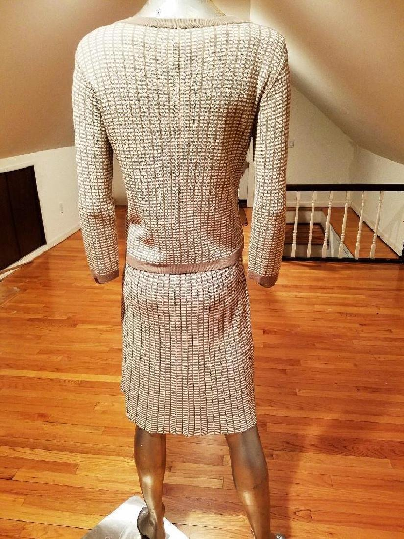 French Dress/Jacket Ensemble Plaid Knit Chanel Style - 3