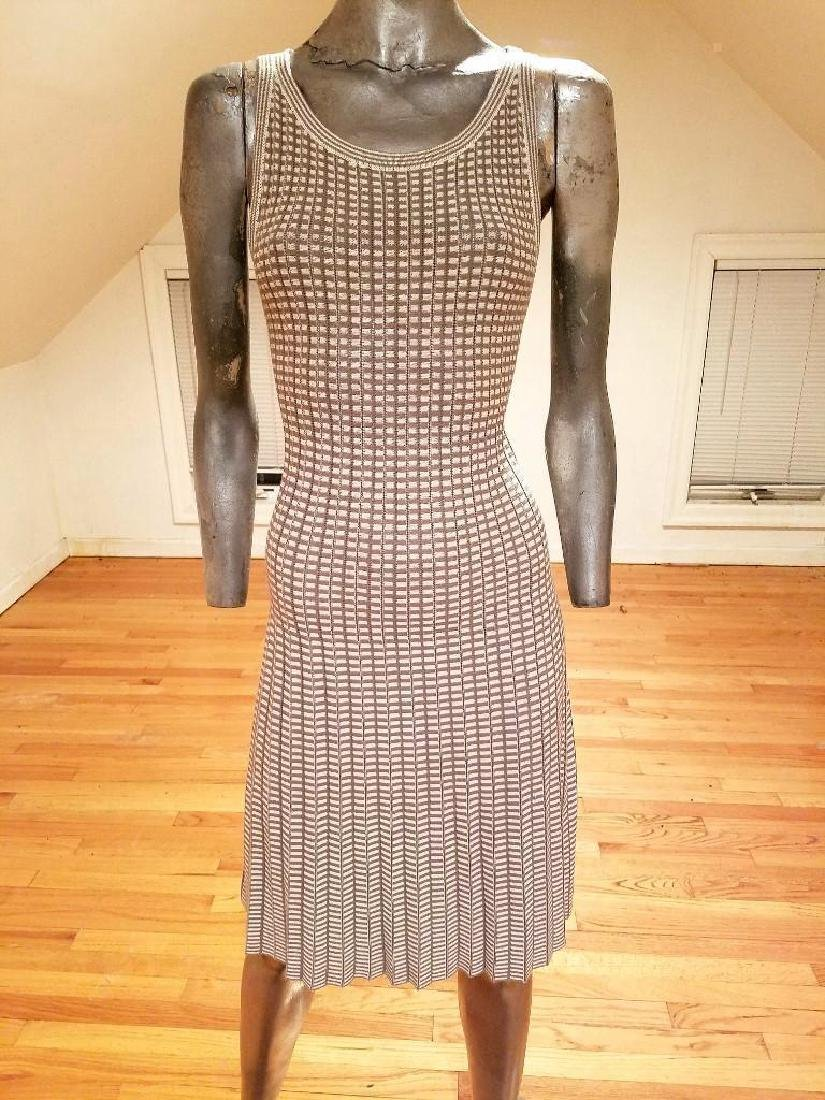 French Dress/Jacket Ensemble Plaid Knit Chanel Style - 4