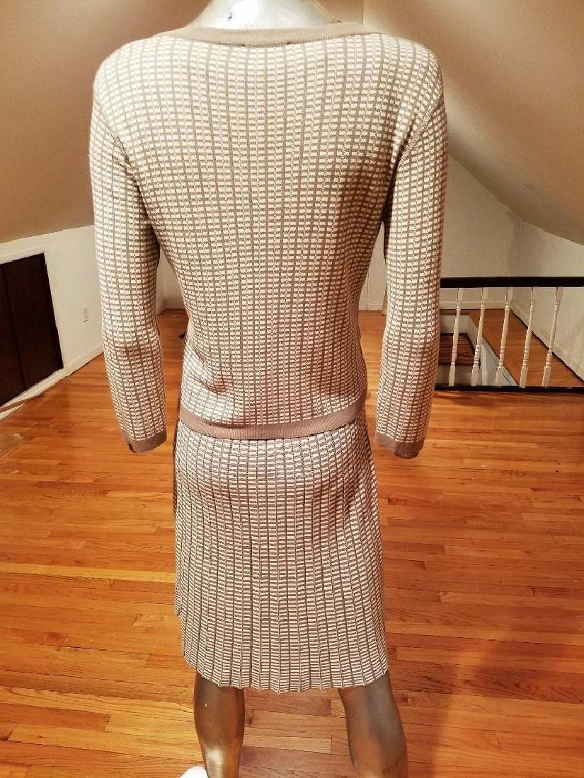 French Dress/Jacket Ensemble Plaid Knit Chanel Style - 8