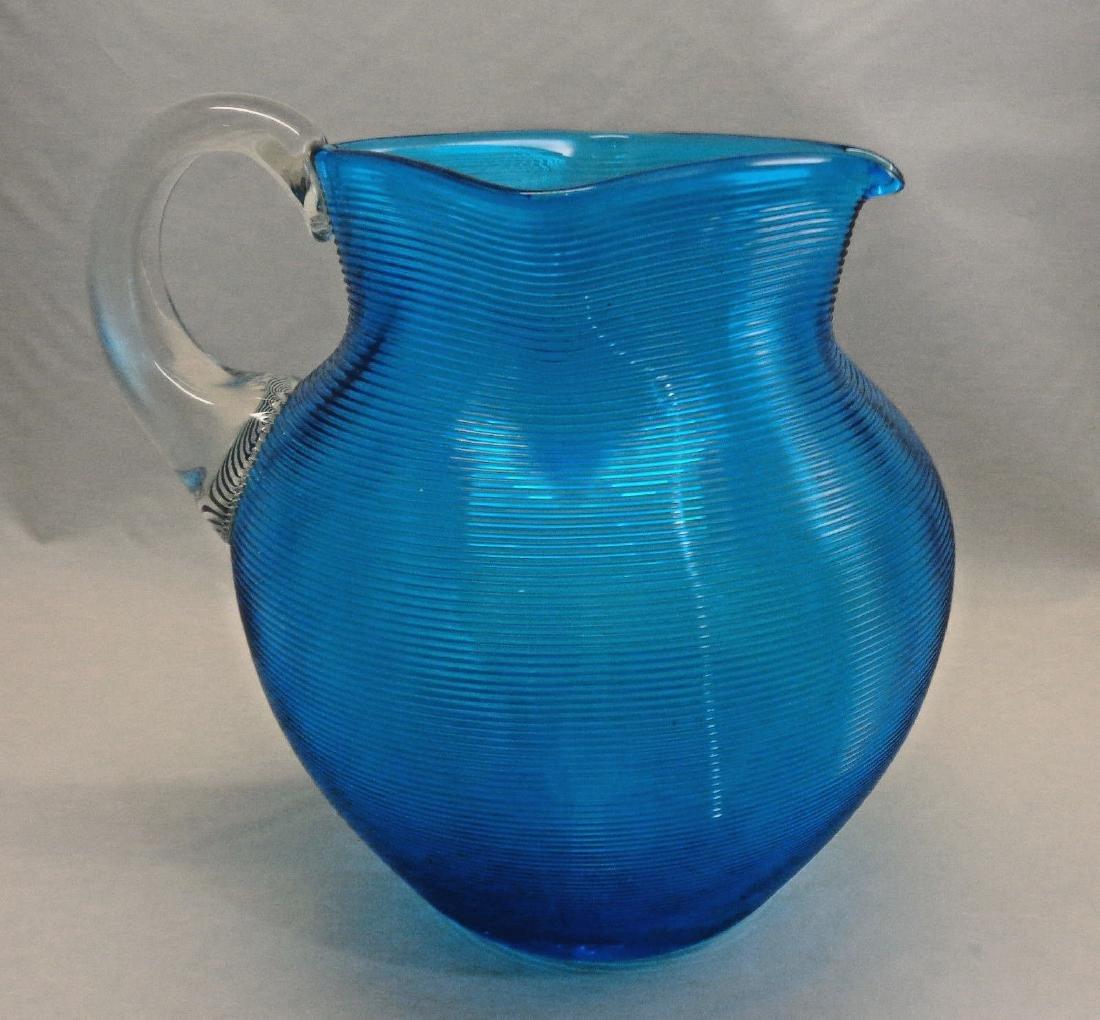 Antique Victorian Threaded Glass Pitcher, c1890