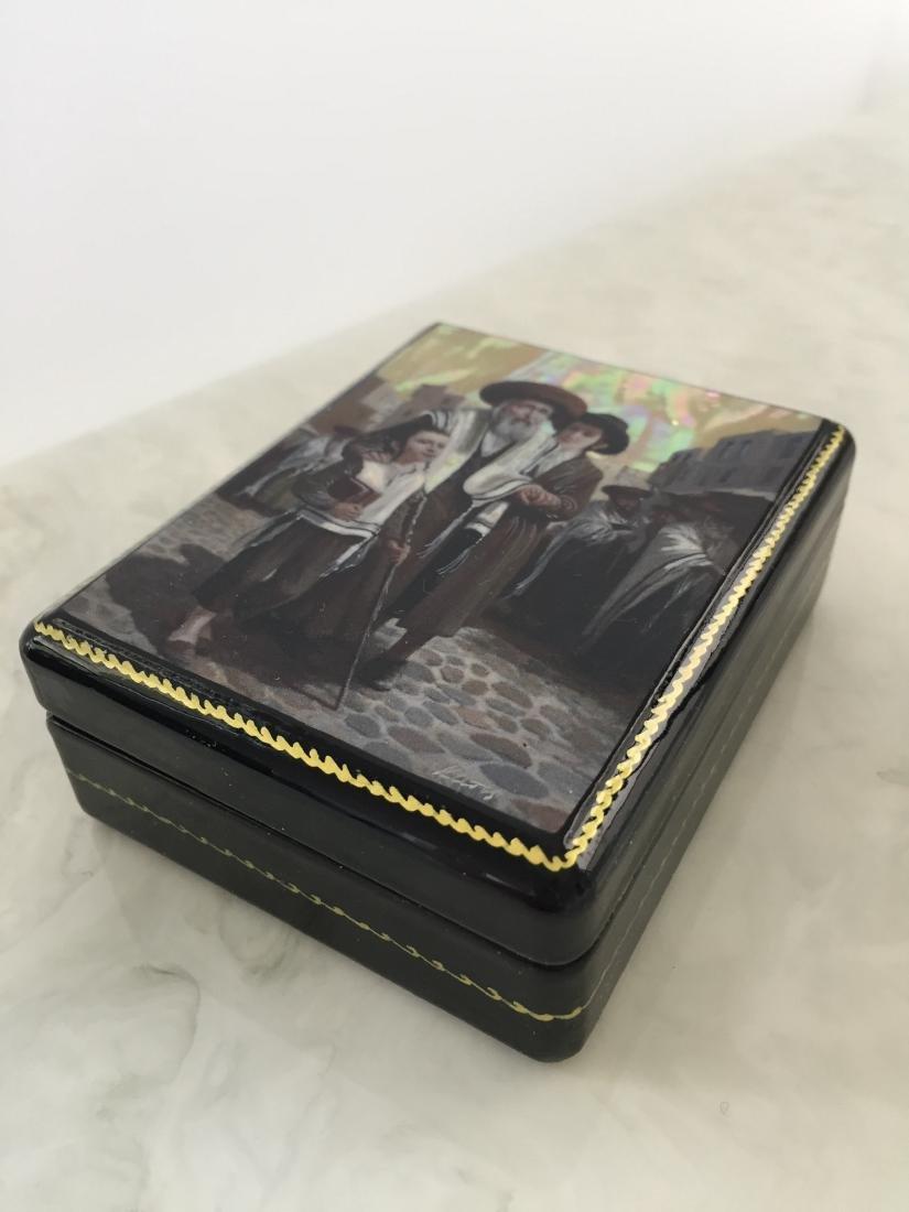 Russian Souvenir Paper Mâché Lacquer Box - Helping - 2