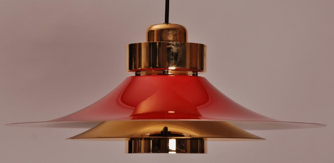 Retro Danish Horn Belysning Red Pendant Lamp, 1970s