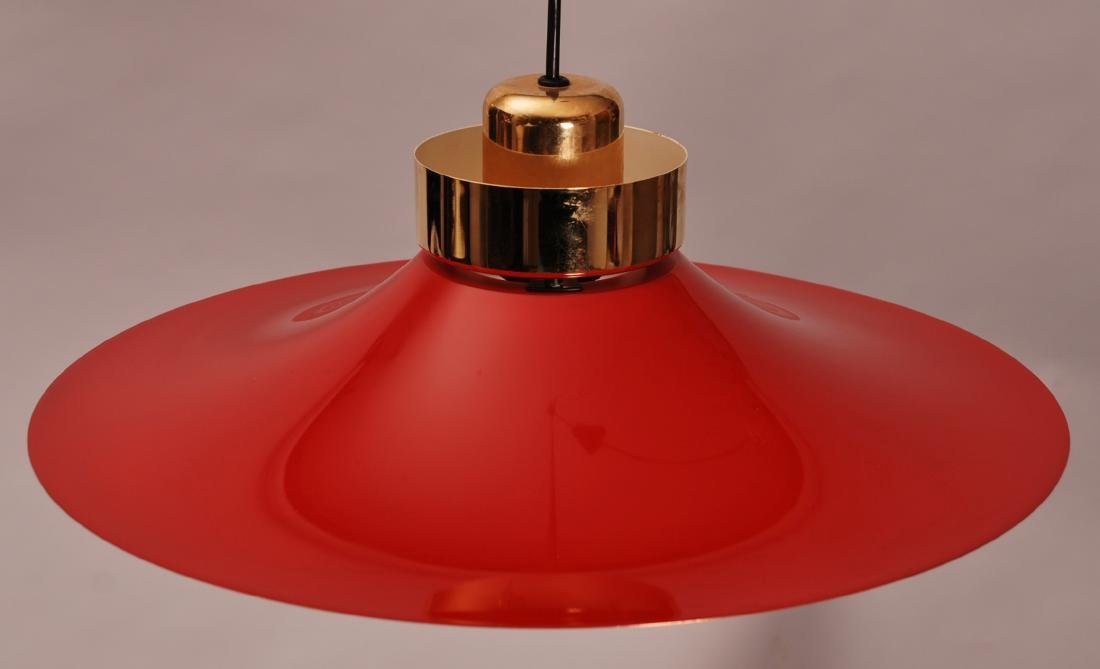 Retro Danish Horn Belysning Red Pendant Lamp, 1970s - 3