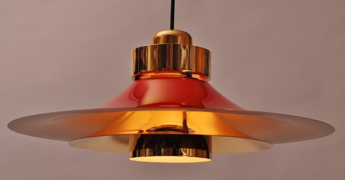 Retro Danish Horn Belysning Red Pendant Lamp, 1970s - 4