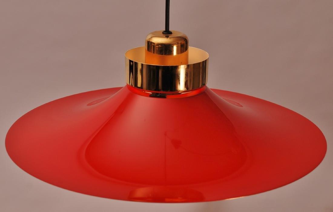 Retro Danish Horn Belysning Red Pendant Lamp, 1970s - 6