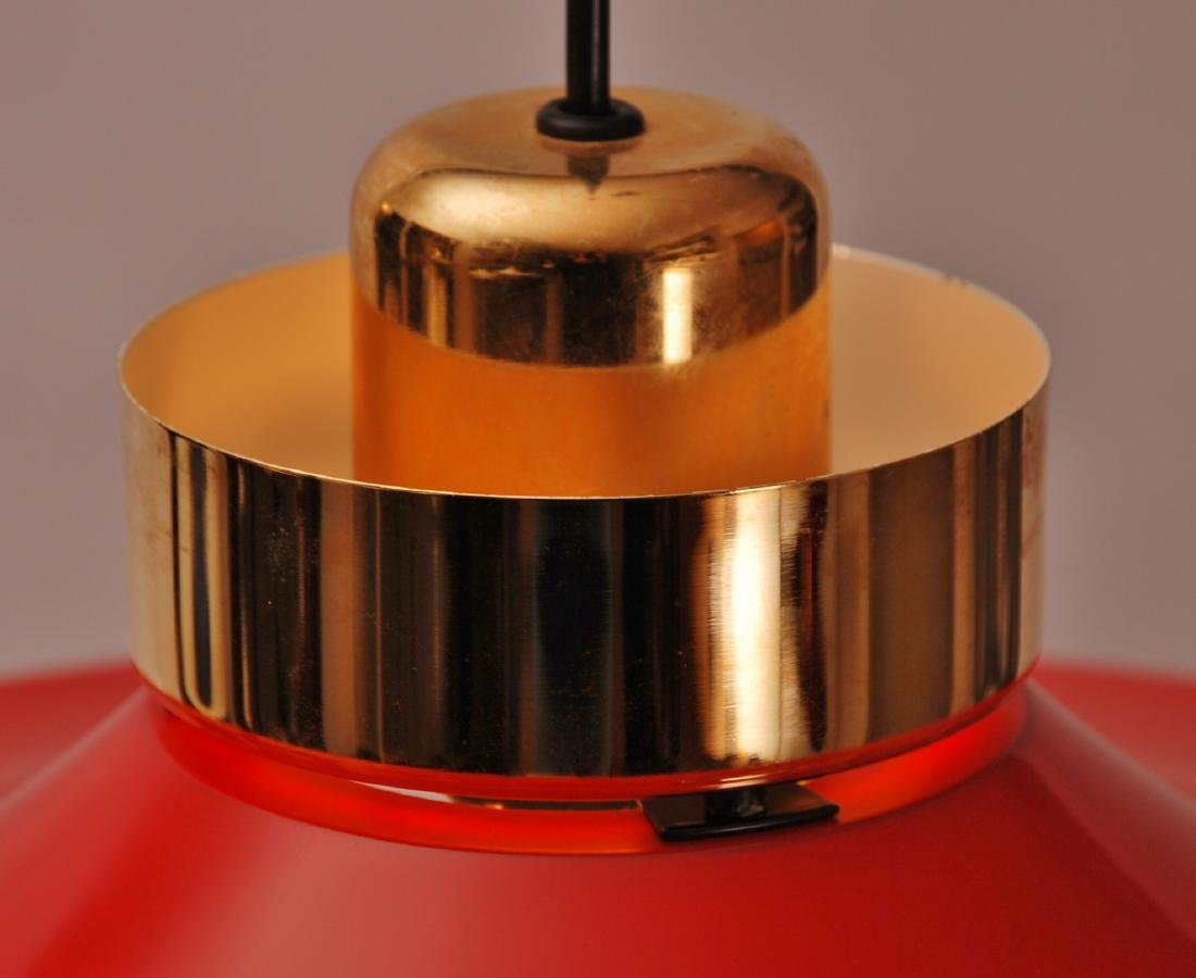 Retro Danish Horn Belysning Red Pendant Lamp, 1970s - 7