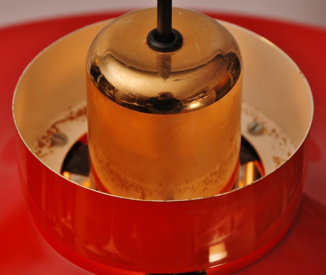 Retro Danish Horn Belysning Red Pendant Lamp, 1970s - 8